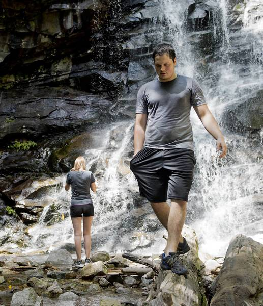 John Landis (right) of Pennsbury and Nicole Moyer of Barto last week visit a waterfall at Glen Onoko Falls in Carbon County, where a number of fatal falls have occurred.