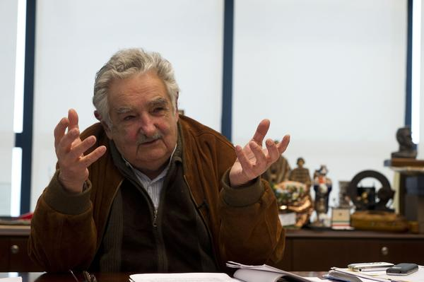Uruguayan President Jose Mujica answers questions during an interview with Agence France-Presse in Montevideo. Mujica said that if marijuana gets out of hand in Uruguay -- after the legalization of its production and distribution -- he is prepared to pull back.