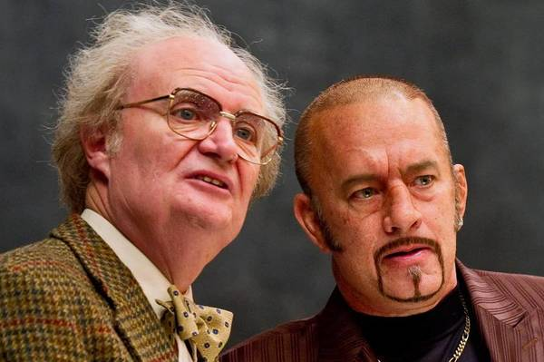 "Actors Jim Broadbent, left, and Tom Hanks appear in ""Cloud Atlas."" The movie, distributed by Warner Bros. in the U.S. and Canada, was the most LGBT-inclusive film released by a major studio in 2012, GLAAD says."