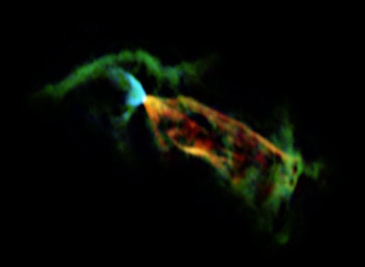A closeup view of material streaming away from a protostar.
