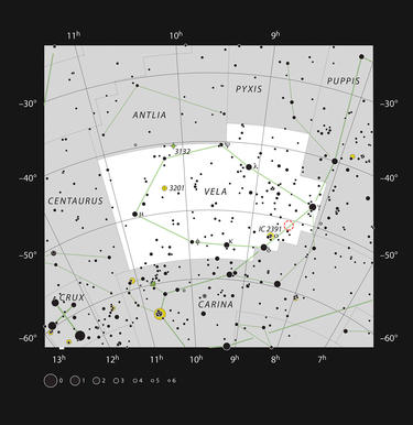 Herbig-Haro 46/47 is in the southern constellation of Vela, which is shown here in a star atlas image.