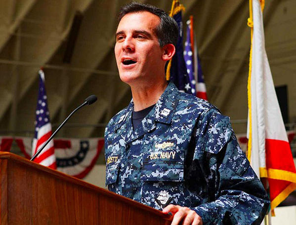 Eric Garcetti is seen wearing his US Navy camouflage while speaking at an event in 2012. The now-mayor of Los Angeles has given the military notice that he would move to inactive status, Garcetti announced Tuesday.
