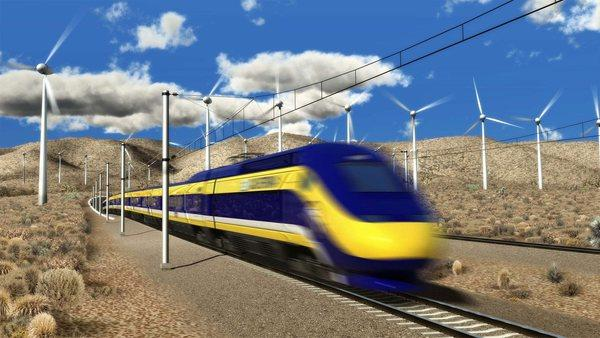 A rendering of the proposed high-speed train that would run from Los Angeles to San Francisco.