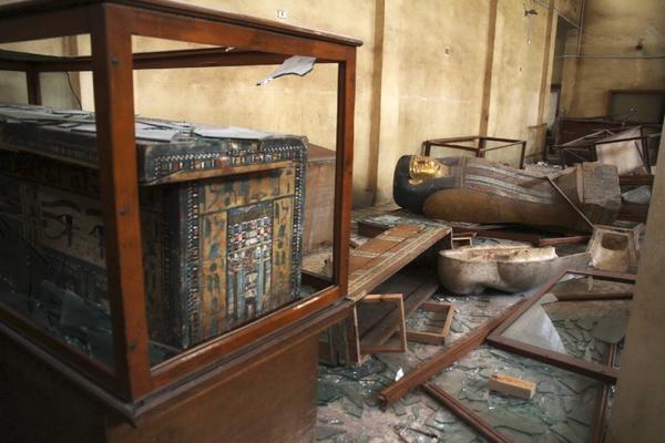 Damaged antiquities and other objects are shown at Egypt's Malawi National Museum.