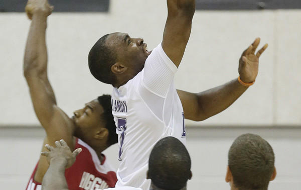 Forward Marcus Landry wears a short-sleeve jersey while playing with the Lakers' summer league team.