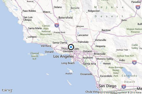 A map shows the approximate location of the epicenter of Wednesday morning's quake near San Fernando.