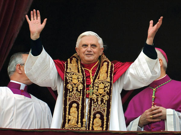 Ex-Pope Benedict XVI is shown in 2005 shortly after his election as pontiff to succeed the late John Paul II.