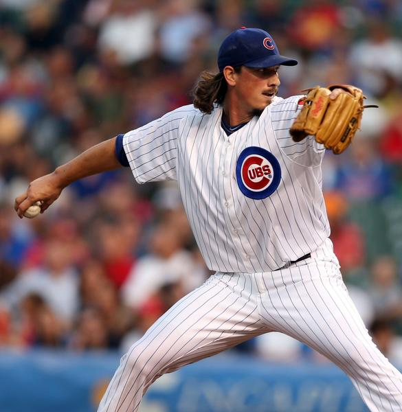 Chicago Cubs' Jeff Samardzija delivers a pitch against the Washington Nationals in the 1st inning Monday.