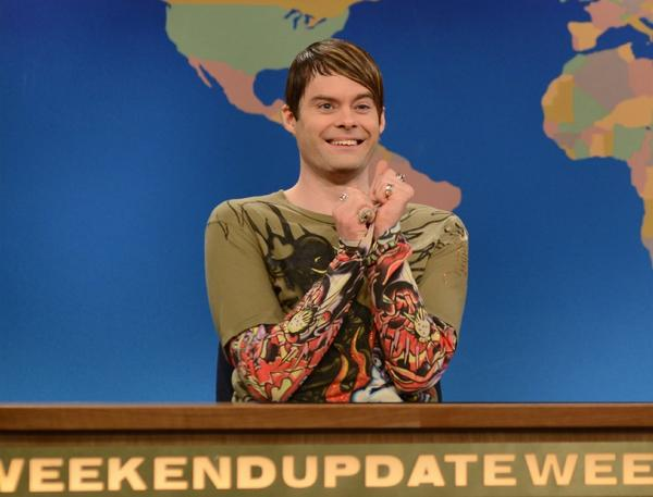 "Bill Hader, seen here playing Stefon, the guide to all things New York City on ""Saturday Night Live,"" has won consecutive Emmy nominations for his work on the show."