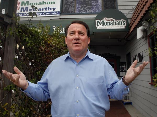 Costa Mesa Mayor Jim Righeimer in front of Skosh Monahan's pub in Costa Mesa.