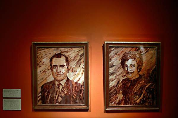 Drawings of the 37th president and his wife, Pat, are part of an exhibit at the Richard Nixon Presidential Library and Museum.