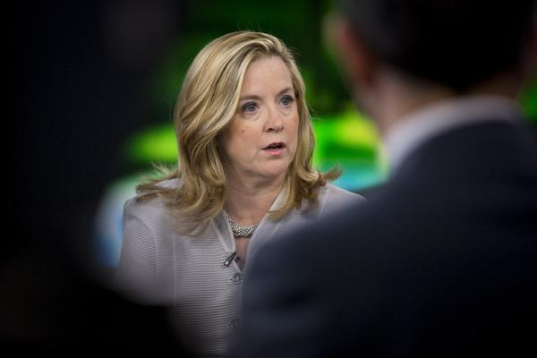 Kate O'Brian, president of Al Jazeera America LLC, speaks during a Bloomberg Television interview in New York, U.S., on Tuesday, Aug. 20, 2013.