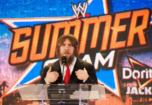 "Daniel Bryan appears at the ""WWE SummerSlam"" news conference. His defeat of WWE champion John Cena was one of the most-tweeted events on TV."