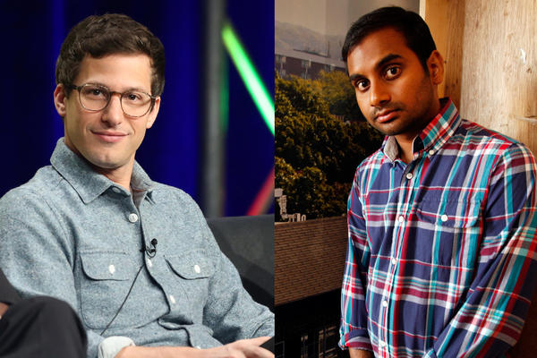 Andy Samberg, left, and Aziz Ansari will be on the dias for the Comedy Central roast of James Franco.