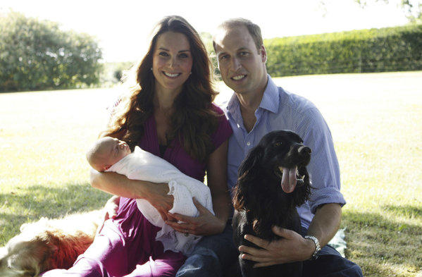 The Duke and Duchess of Cambridge are shown with their son, Prince George, in early August at the home of the duchess' family. The photo was taken by her father, Michael Middleton, and released by Kensington Palace.