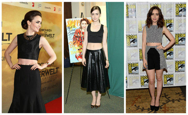 "From left: Lily Collins arrives for ""The Mortal Instruments: City of Bones"" Germany premiere Aug. 20; at the Seventeen magazine September cover issue celebration Aug. 6 in New York City; and Comic-Con's ""City of Bones"" presentation July 19 in San Diego."