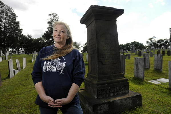 Ruth Shapleigh-Brown, of Manchester, was recently awarded the National Society Daughters of the American Revolution Historic Preservation Medal for her work preserving burial grounds in Connecticut. She is pictured in the Center Cemetery in East Hartford that was established in 1709 near the grave monument for Theodore Stanley.
