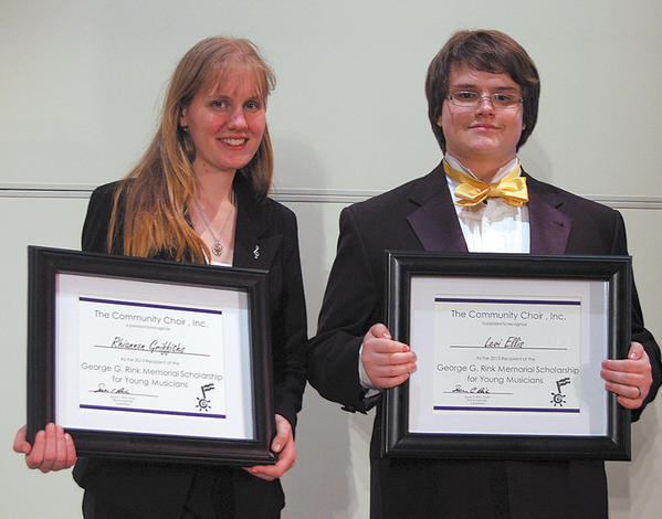 Vocalists Rhiannon Griffiths and Levi Ellis, both of Berkeley Springs, W.Va., were named recipients of the 2013 George G. Rink Memorial Scholarship for Young Musicians by the Community Choir.