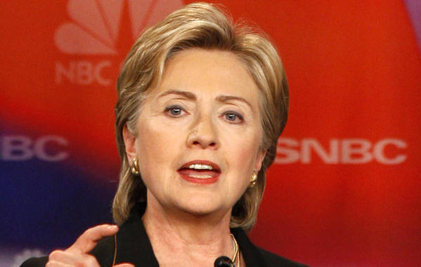 New York Senator Hillary Rodham Clinton speaks during the NBC Democratic Presidential Candidates Debate in October 2007.
