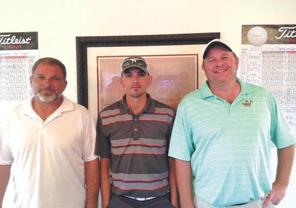 The City of Hagerstown's Parks and Recreation Division announced the winners of its inaugural City Championship Golf Tournament. The winners are, from left, Steve Fisher, third-flight winner; Jeremy Butts, second-flight winner; and Ken Lampard, city champion first-flight winner.