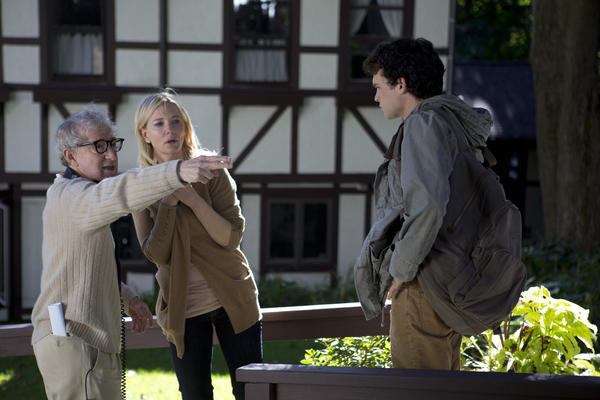 "Woody Allen, left, directs Cate Blanchett and Alden Ehrenreich in a scene in ""Blue Jasmine."""