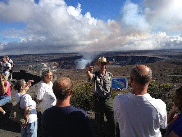 Ranger Dean Gallagher explains the volcanic history of Halemaumau Crater during a talk at Hawaii Volcanoes National Park.