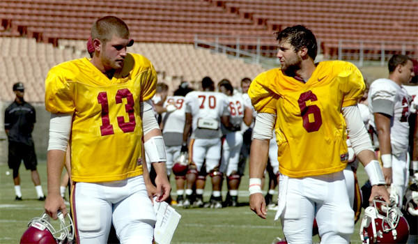 USC quarterbacks Max Wittek, left, and Cody Kessler walk off the field after a scrimmage at the Coliseum.