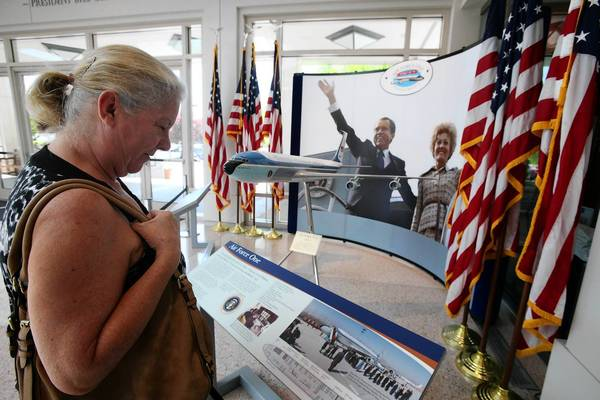 Katherine Israwi of Downey views an exhibit at the Richard Nixon Presidential Library and Museum in Yorba Linda; the library on Wednesday released the final segment of Nixon's secret White House tapes.