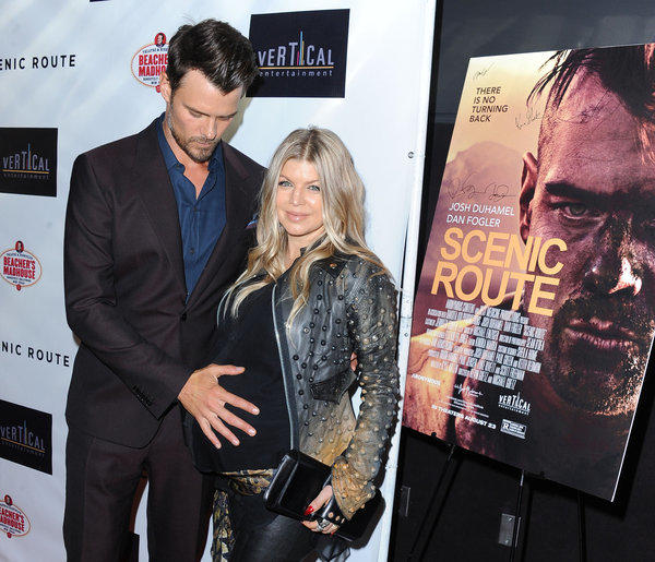 "Josh Duhamel and his wife Fergie arrive on the red carpet for the premiere of ""Scenic Route"" in Los Angeles."