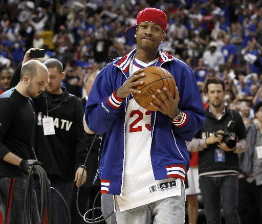 Former 76ers star Allen Iverson holds the game ball before Philadelphia played Boston in Game 6 of the 2012 NBA Eastern Conference semifinals. The former Bethel High star reportedly plans to announce his retirement this week.