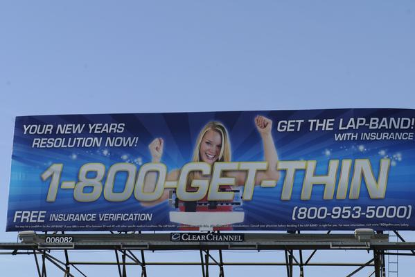 A billboard in 2011 advertises weight-loss surgery.
