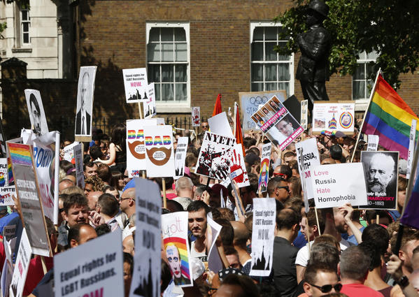 Hundreds of gay rights activists protested in London, calling for the Winter 2014 Olympic Games to be taken away from Sochi, Russia