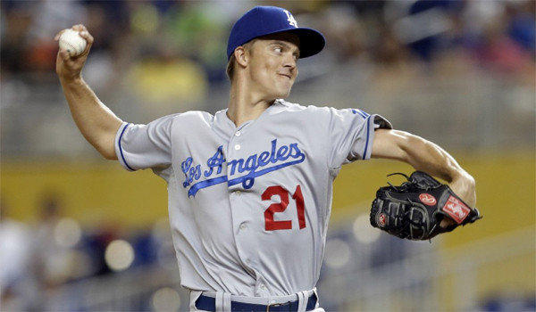 Dodgers right-hander Zack Greinke gave up one run on six hits through eight innings in the Dodgers' 4-1 victory over the Miami Marlins on Wednesday.