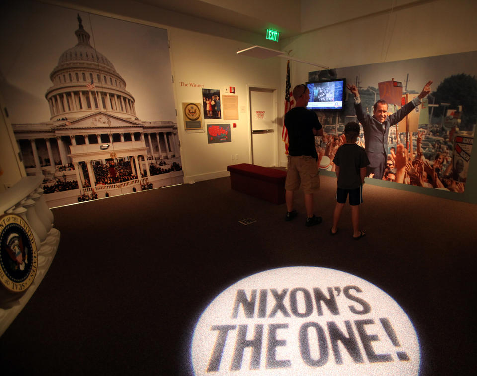 Roger Thorsvold, left, of Oregon and his nephew Clay Gerrans of Manhattan Beach visit the Richard Nixon Presidential Library.