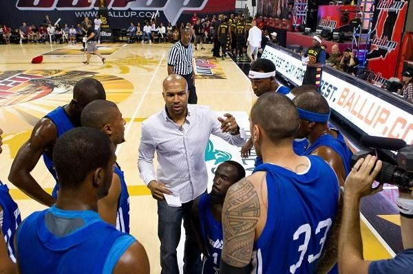 Derek Fisher's team lost to Tracy Murray's squad at the Ball Up Streetball Classic Tour at the Walter Pyramid arena in Long Beach.