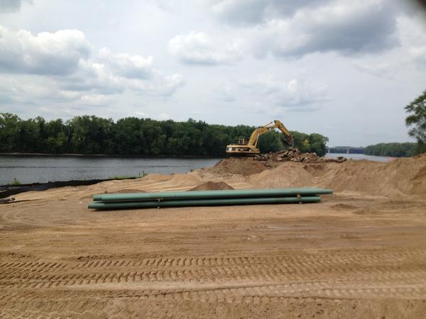A view of work being done on the boathouse at the Glastonbury Riverfront Park.