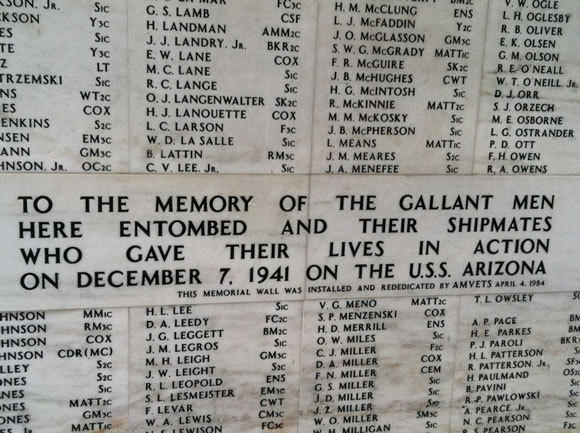 Part of the U.S.S. Arizona memorial at Pearl Harbor.