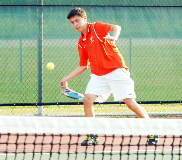 Harbor Springs' Sam Dart won his season-opening match over Alpena's Abram Purol, but the Rams fell to the Wildcats, 4-2.