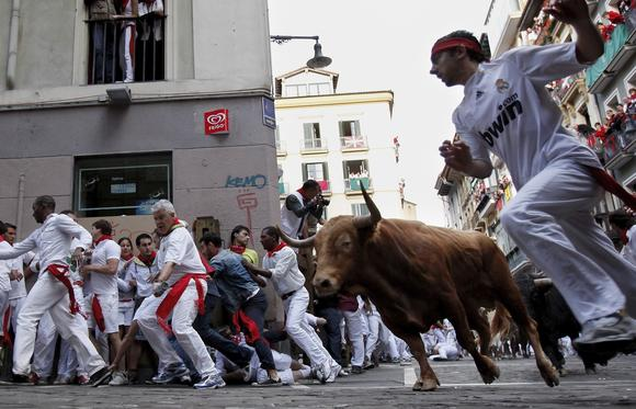 The Great Bull Run outside Petersburg is inspired by the famous running of the bulls in Pamplona, Spain, ... sort of.