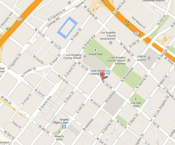 Police have closed off the area near 1st and Hill streets in downtown Los Angeles