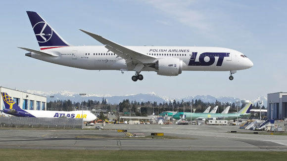 A Dreamliner operated by LOT Polish Airlines lands during a test flight in March at Paine Field in Everett, Wash.