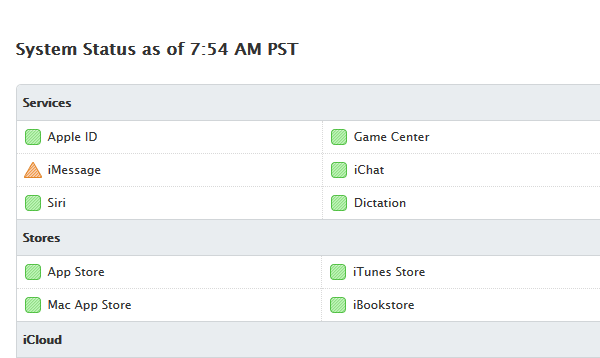 A screen shot of the Apple website Thursday showing the status of various Apple services. The company's iCloud and iMessage were experiencing issues late Wednesday and early Thursday.