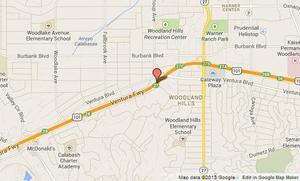 Approximate location, shown in red, where the 101 Freeway was shut down in Woodland Hills.