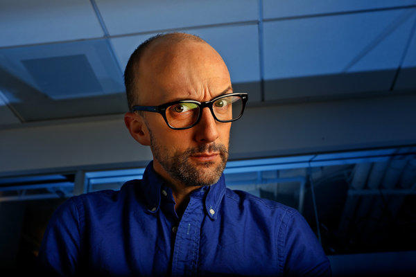 "James ""Jim"" Rash, an actor, comedian, producer and Academy Award-winning screenwriter, is photographed at ID Public Relations in Hollywood on August 9, 2013. Rash is the host of the new Sundance Channel series, ""The Writers' Room."""