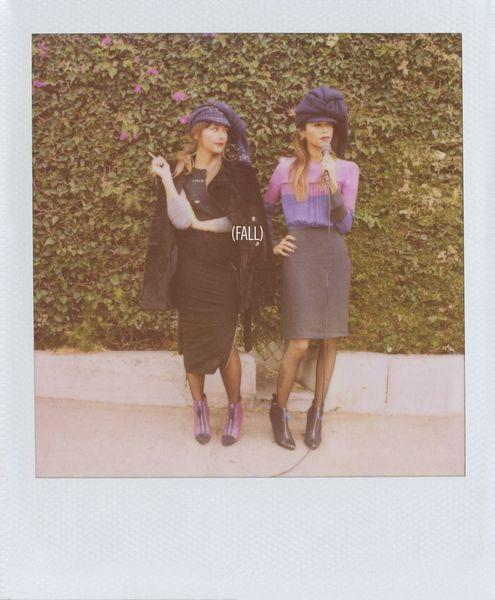 The Band of Outsiders fall 2013 women's ad campaign, featuring sisters Rashida, left, and Kidada Jones was shot using a Polaroid camera at the Dresden Restaurant in Los Angeles.