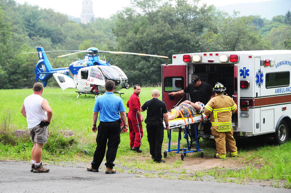 A 71-year-old Harleysville man was injured Thursday after slipping off the hiking trail at Glen Onoko Falls.