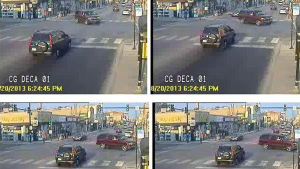 Photos taken from video surveillance of a vehicle wanted in a hit-and-run Tuesday that killed an elderly man on the Northwest Side.