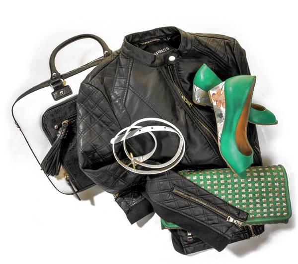 "Belt: Style & Co., $21.98 for two, Macy's, macys.com Laptop case: Aldo, ""Parkers,"" $60, aldoshoes.com Clutch: Francesca's, woven glitter clutch, $34, francescas.com Jacket: Express, quilted moto jacket, $128, express.com  Shoes: Neuaura Shoes, Kanna, $104 reduced to $78, neuaurashoes.com"
