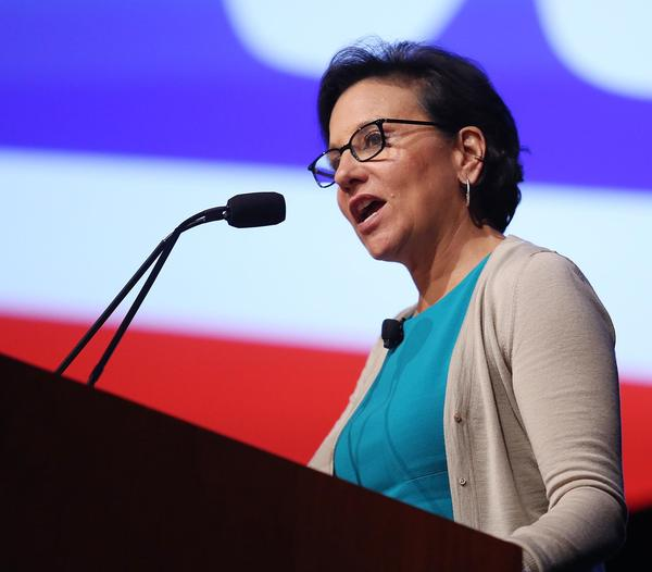 Penny Pritzker, U.S. Secretary of Commerce, speaks during a Walmart U.S. Manufacturing Summit at the Orange County Convention Center in Orlando on Thursday, August 22, 2013.