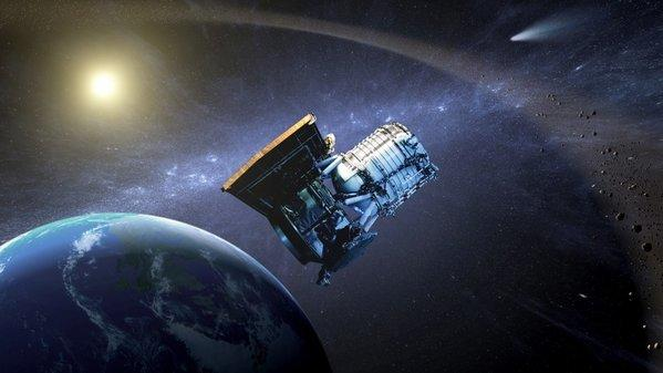 "This artist's concept shows the Wide-field Infrared Survey Explorer in its orbit around Earth. The craft has been ""hibernating"" since completing an earlier mission."